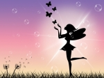 Image of fairy blowing butterflies into the air